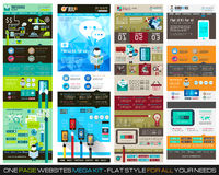 En UPPSÄTTNING 1 för mall för design för sidawebsitelägenhet UI Arkivbild