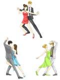 En uppsättning för symbol för illustrationtecknad filmtecken av dansparsp Arkivbilder