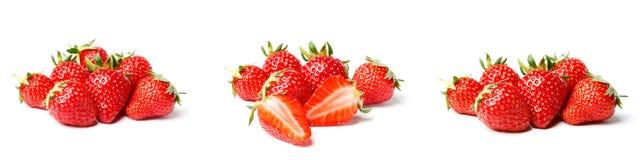 En upps?ttning av den nya jordgubben som isoleras p? vit bakgrund royaltyfri bild