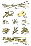 En upps?ttning av olika typer av pasta i kul?ra hand-teckning linjer royaltyfri illustrationer