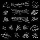 En upps?ttning av olika typer av pasta i svartvita hand-teckning linjer royaltyfri illustrationer