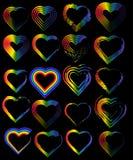 En upps?ttning av regnb?gehj?rtor Begreppet av frihet som väljer en partner för förhållanden, homosexualitet Emblem av förbindels stock illustrationer