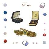 En upps?ttning av smycken Härlig skinande tillbehör som isoleras på vit vektor illustrationer