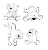 En uppsättning av björnar för färgläggningdiagram för bok färgrik illustration Royaltyfri Fotografi