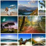 En uppsättning av foto av sommarholidaym Fotografering för Bildbyråer