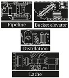 En uppsättning av fyra bilder av en teknologisk industriell maskin Arkivfoto