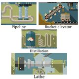 En uppsättning av fyra bilder av en teknologisk industriell maskin Arkivbild