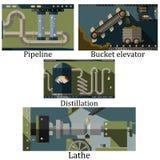 En uppsättning av fyra bilder av en teknologisk industriell maskin Arkivbilder