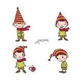 En uppsättning av gulliga små gnomer Royaltyfria Foton