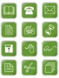 En uppsättning av kontors- eller rengöringsduksymboler i fyrkant med rundade hörn Royaltyfria Foton