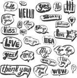 En uppsättning av svarta och retro humorbokdesignbeståndsdelar med anförande bubblar Klotterdesign med korta meddelanden Royaltyfria Bilder
