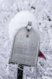 En USA-brevlådacloseup i vinter Fotografering för Bildbyråer