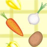 En utsmyckad modell Mogna härliga grönsaker på en ljus bakgrund Passande som tapeten i köket, som en bakgrund för vektor illustrationer