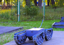 En utställning av sovjetiska robotar som handlade med spillror Royaltyfri Foto