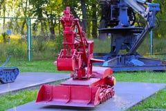 En utställning av sovjetiska robotar som handlade med spillror Royaltyfri Fotografi