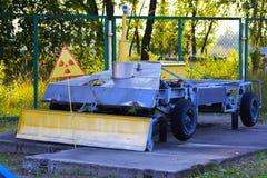 En utställning av sovjetiska robotar som handlade med spillror Arkivfoton