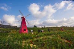 En väderkvarn i huangshan som är västra av huangshan, anhui landskap Royaltyfria Foton
