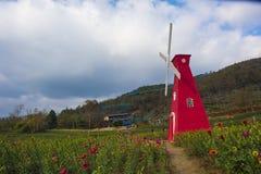 En väderkvarn i huangshan som är västra av huangshan, anhui landskap Arkivbilder