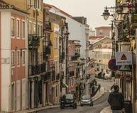 En vägg av byggnader, Lissabon, Portugal royaltyfria bilder