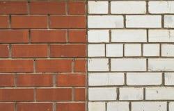 En vägg av röd och vit tegelsten Arkivbilder