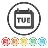 En väggkalender med ordet tisdag Plana färgrika knappar för tisdag kalendersymbol stock illustrationer