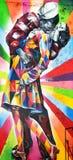 En väggmålning av den konstnärBrazilian konstnären Kobra Arkivbild