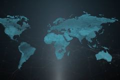 En världskarta med symboliska lägen av serverorna för företags` s vektor illustrationer