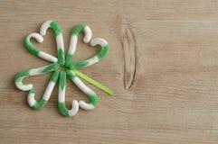En växt av släktet Trifolium för fyra blad som göras ut ur den gröna och vita godisrottingen Royaltyfri Bild