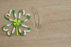 En växt av släktet Trifolium för fyra blad som göras ut ur den gröna och vita godisrottingen Arkivfoton