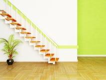 En växt och trappan i rummet Arkivfoto