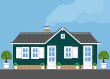 En-våning hus med gröna väggar Plan stil Royaltyfria Bilder