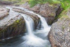 En vår med en vattenfall Arkivfoton