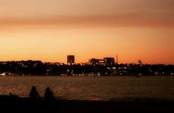 En vanlig solnedgång på sjön för Paranoa ` s royaltyfri foto
