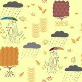 En varg i höst med ett paraply i regnet en sömlös modell royaltyfri illustrationer