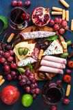 En variation av aptitretaren med rött vin Olika korvar och kallt kött, ost med formen, frukt Bästa sikt, lekmanna- lägenhet royaltyfri fotografi