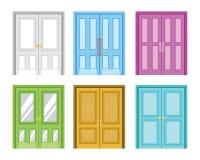 En variation av den färgrika hem- illustrationen för dörrdesignvektor stock illustrationer