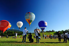 En varmluftsballongshow på Taitung i Taiwan Arkivfoto