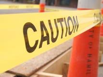 En varning som tejpas av plats Royaltyfri Fotografi