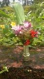 En vas för konstgjord blomma Fotografering för Bildbyråer