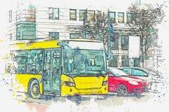 En vattenfärg skissar eller illustrationen berkshires Bussen går runt om staden vektor illustrationer