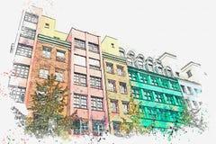 En vattenfärg skissar eller illustrationen berkshires Kulöra bostads- byggnader vektor illustrationer