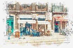 En vattenfärg skissar eller illustrationen En grupp av män eller vänner sitter i gatan bredvid restaurangen lisbon vektor illustrationer