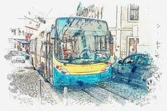 En vattenfärg skissar eller illustrationen lisbon Bussen går runt om staden royaltyfri illustrationer