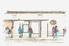 En vattenfärg skissar eller illustrationen Ungdomarpå den väntande på transporten för hållplats lisbon royaltyfri illustrationer