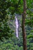 En vattenfall i Himalayan berg som ses från den Rishikesh-Badrinath huvudvägen, Uttarakhand, Indien Fotografering för Bildbyråer