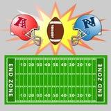 En vektorillustration av ett fält för amerikansk fotboll royaltyfri fotografi