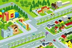 Staden kartlägger stock illustrationer