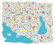 En vektorillustration av stadsöversikten Arkivfoto