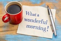En vilken underbara morgon - servettanmärkning Fotografering för Bildbyråer