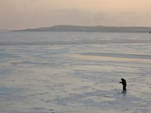 En vinterfiskare på is fiskar royaltyfri fotografi